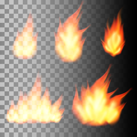 flames background: Set of realistic fire flames on transparent background.