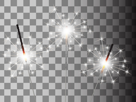 Christmas sparkler set on transparent background.
