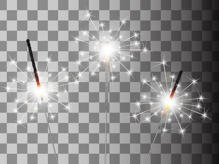 Christmas sparkler set on transparent background.