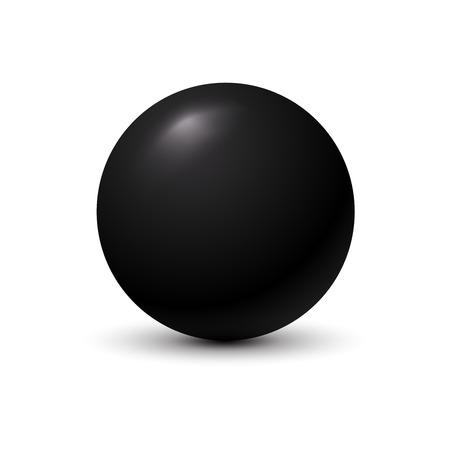 Black ball on white background. Illustration