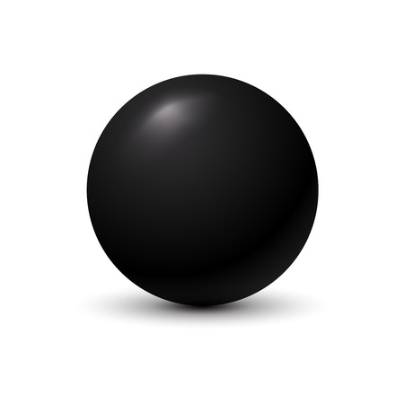Black ball on white background. Stock Illustratie