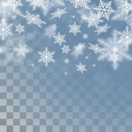 copo de nieve: copos de nieve sobre fondo transparente. Plantilla de Navidad