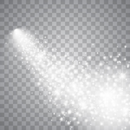 A bright comet with large dust. Falling Star. Glow light effect. Vector illustration Stock Illustratie