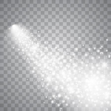 staub: Ein heller Komet mit großen Staub. Fallender Stern. Glow Lichteffekt. Vektor-Illustration