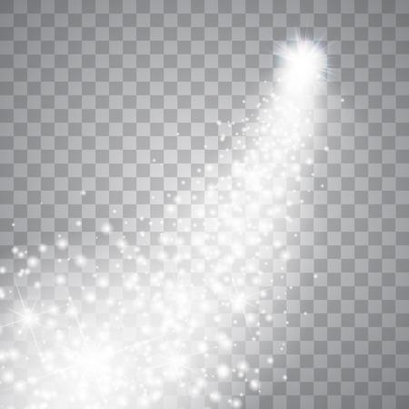 magie: Une comète lumineuse avec grande poussière. Étoile filante. Glow effet de lumière.