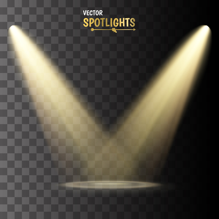Spotlights. Vector light effect on transparent background