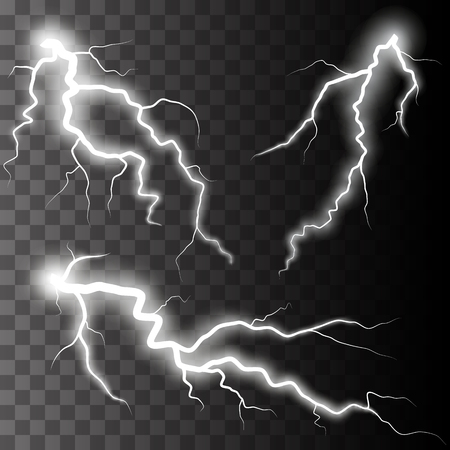 rayo electrico: Conjunto de relámpagos. Tormenta de truenos y relámpagos. La magia y efectos de iluminación brillante. Vectores