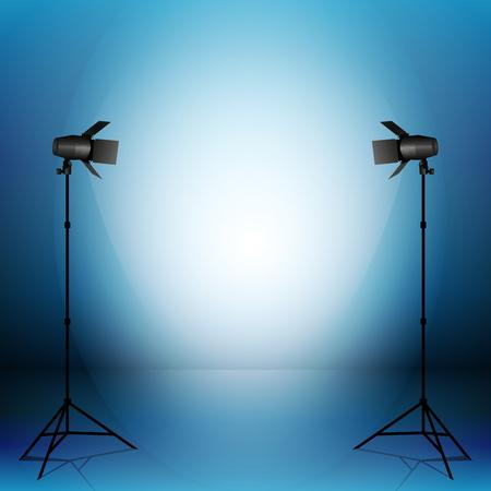 sudio: Empty vector sudio with professional equipment on grey background