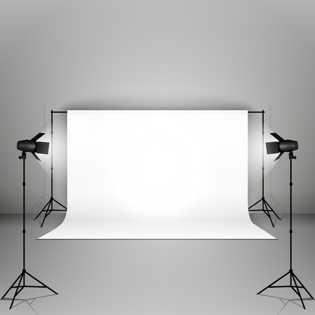 sudio: Empty vector sudio with professional equipment on grey background