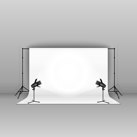 professional equipment: Empty vector sudio with professional equipment on grey background