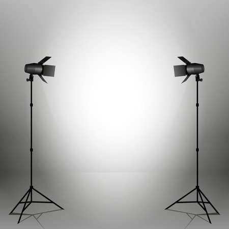 stage decoration abstract: Empty vector sudio with professional equipment on grey background