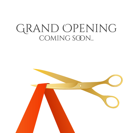 ribbon background: Grand opening invitation with gold scissors and red ribbon.  Illustration