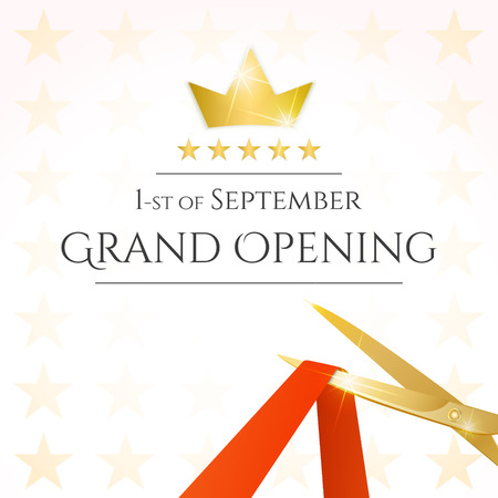 open: Grand opening card with scissors and red ribbon. Vector Illustration