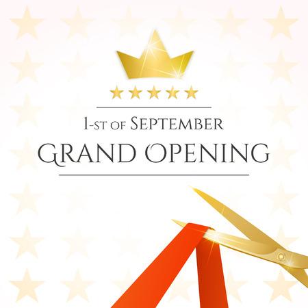 abertura: Tarjeta de inauguración con tijeras y cinta roja. Vector