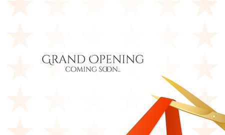 apertura: Tarjeta de inauguraci�n con tijeras y cinta roja. Vector