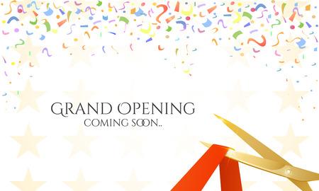 Gouden schaar, een rood lint en confetti op een witte achtergrond. Stock Illustratie