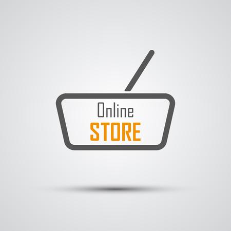 Online-Shop Logo. Orange Basket. Vektor-Illustration Illustration