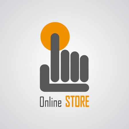 online shop: Online Store Logo with hand and circle. Vector Illustration Illustration