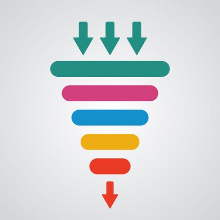 mercadotecnia: Ilustración del vector del embudo de ventas. Concepto de negocio