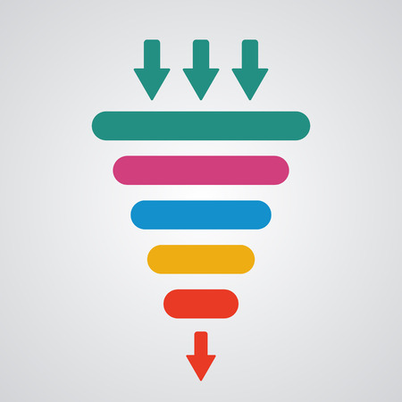 Vector illustration of sales funnel. Business concept