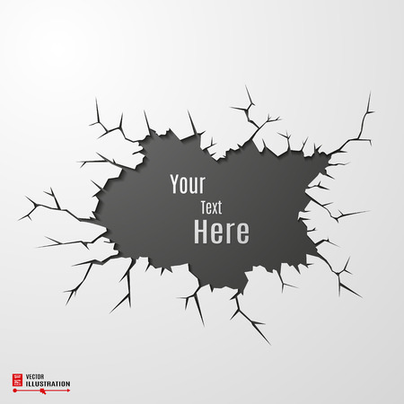 Vector banner on cracked ground abstract background. Illustration