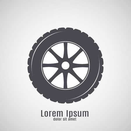 tubeless: Car tyre icon isolated on white background Illustration