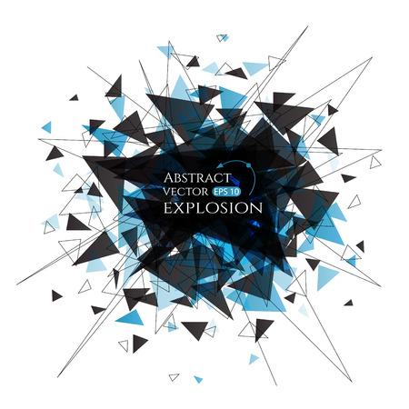 Explosie wolk van zwarte stukken op een witte achtergrond. Vector banner met aangesloten lijnen en driehoeken.