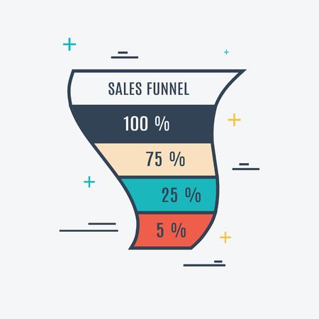 Vector illustratie van de sales funnel. Business concept Stock Illustratie