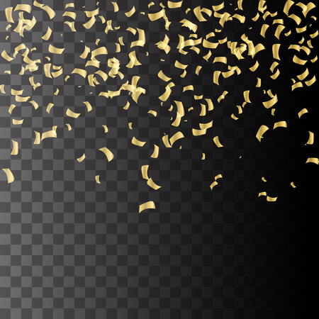 Golden explosion of confetti. Golden grainy abstract texture on a black background. Design element.  Vettoriali