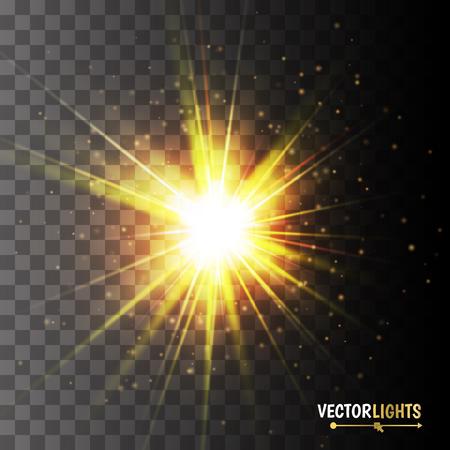 Gloeiend licht effect. Gouden lichten op transparante achtergrond.