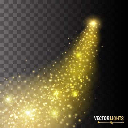 큰 먼지와 밝은 혜성. 별똥별. 조명 효과 노을. 황금 빛. 일러스트