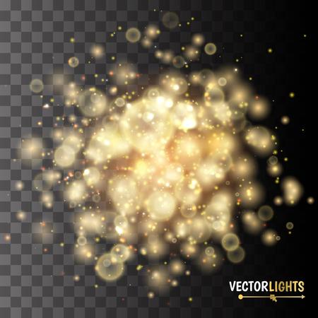 Golden Lights Background. Christmas Lights Concept
