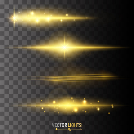light  beam: Golden glow special effect light, flare, star and burst.