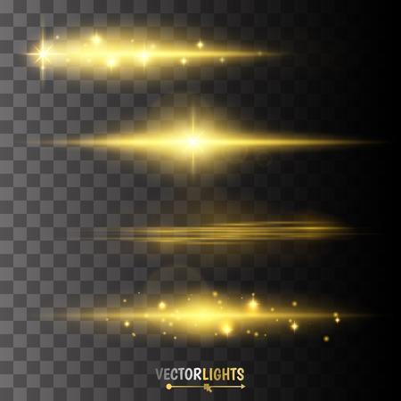 Złoty blask specjalny efekt świetlny, pochodni, gwiazdy i pękł. Ilustracje wektorowe