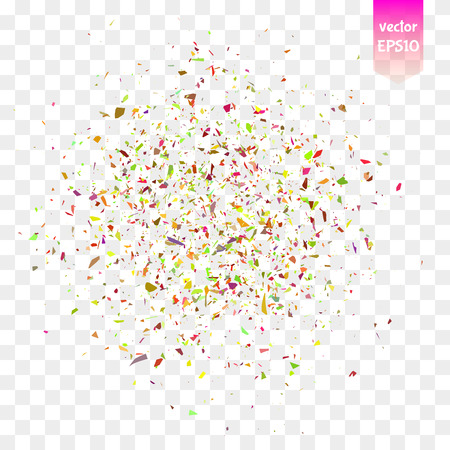 Abstract background with many falling tiny colorful confetti pieces.  Illustration