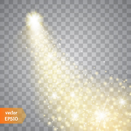 star: Ein heller Komet mit großen Staub. Fallender Stern. Glow Lichteffekt. Goldene Lichter.