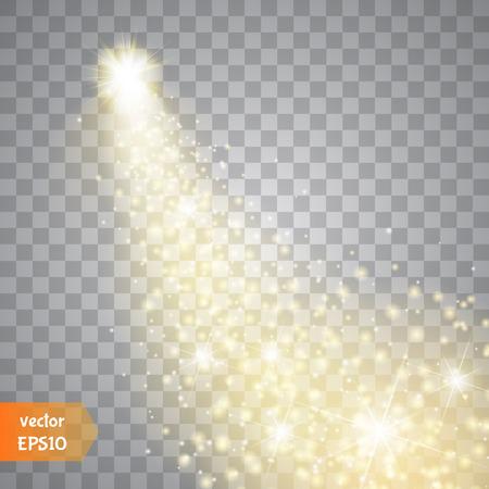 Światła: Jasne komety z dużym kurzu. Spadająca gwiazda. Glow efekt świetlny. Złotego świateł. Ilustracja