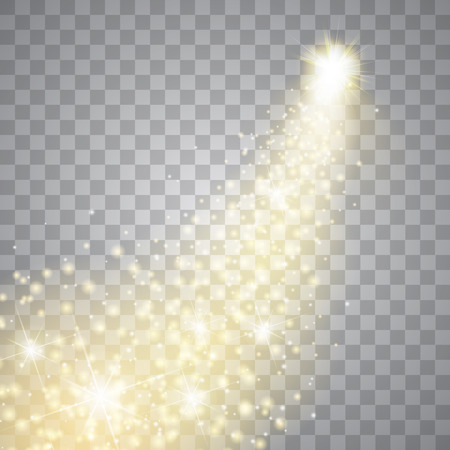 Een heldere komeet met grote stof. Vallende ster. Gloed lichteffect. Gouden lichten.