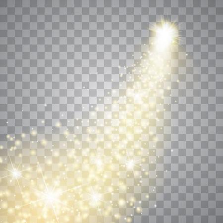lucero: Un cometa brillante con polvo grande. Estrella fugaz. Glow efecto de luz. luces doradas.