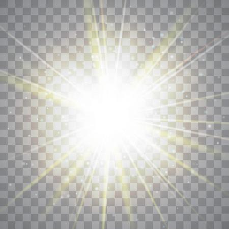 Gloeien lichteffect. Gouden lichten op transparante achtergrond.