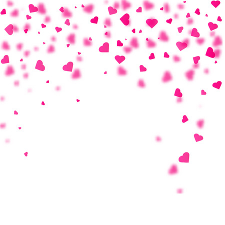 Heart shaped confetti falling down. Vector illustration