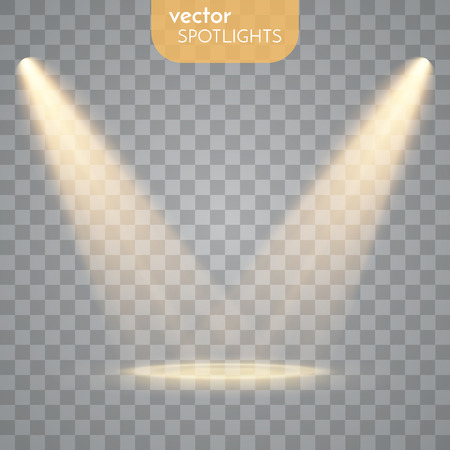 Abstract  Vector Spotlight isolated on transparent background. Light Effects. Vectores