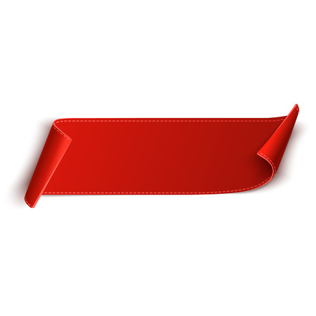 Red, curved, paper scroll banner isolated on white background. Vector illustration. Vettoriali