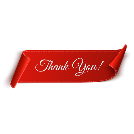 curved: Realistic detailed thank you curved paper banner. Ribbon. Vector illustration