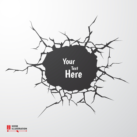 break down: Vector Cracks. Cracked Earth concept with place for text.