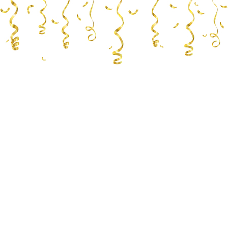 celebration background template with confetti and golden ribbons