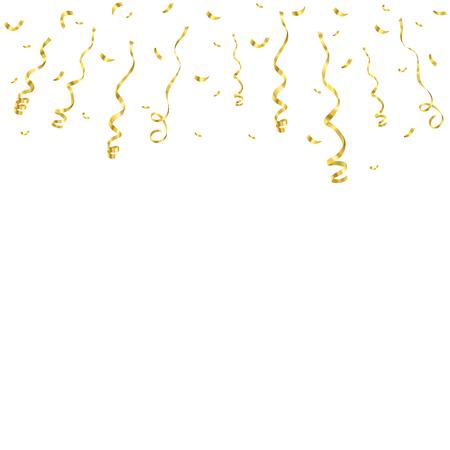 Vierings achtergrondmalplaatje met confettien en gouden die linten op witte achtergrond worden geïsoleerd. Vector illustratie