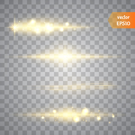 Special line flare light effects for design and decor. Golden lights.