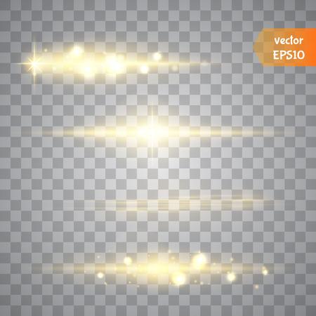 Speciale lijn flare lichteffecten voor ontwerp en inrichting. Gouden lichten.