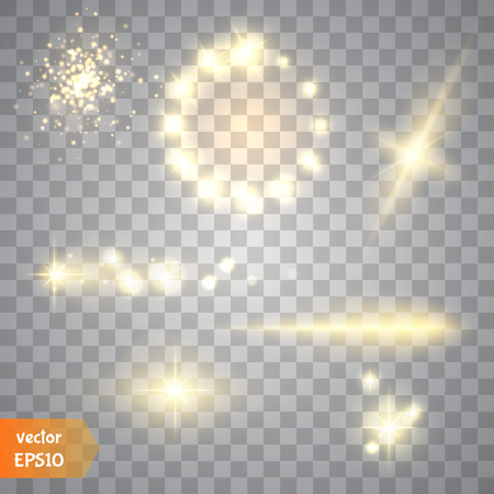 special effect: Glow special effect light, flare, star and burst. Isolated spark.Golden lights.